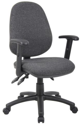 Pricebuster Operator Chair In Charcoal Fabric With Height Adjustable Arms