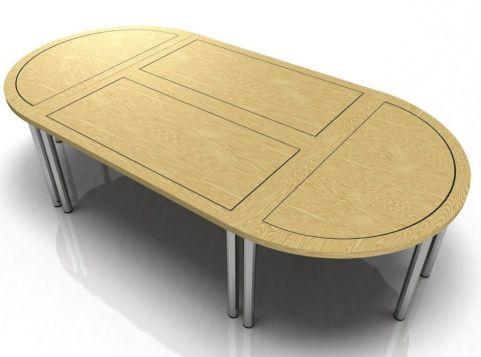 Harley Modular Veneer Table With Rectangular And Half Moon Tables