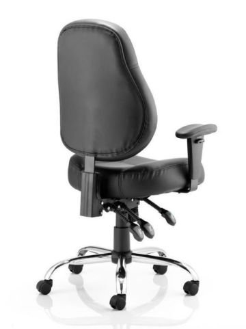 Minster Black Leather Task Chair Rear View