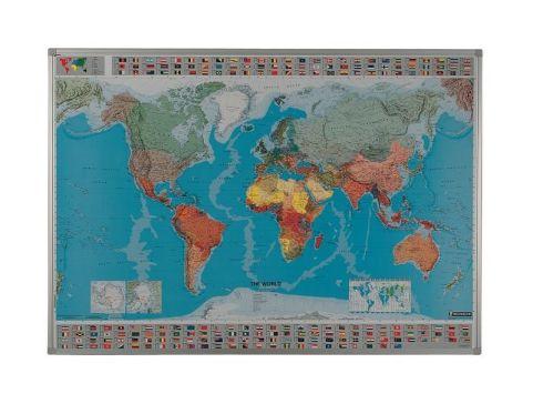 Framed Dry Wipe Map Of World