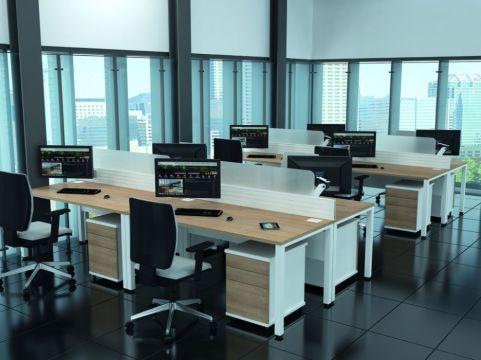 Avalon Rectangular Bench Desk Install Shot