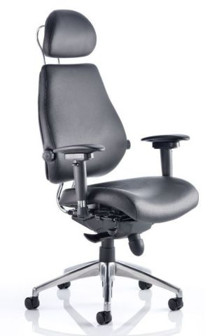 Chiro Ultimate Chair With Headrest In Black Letaher