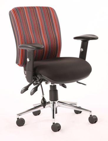 Chiro Medium Back Chair Striped Fabric Back