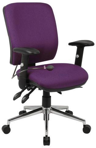 Chiro Medium Back Ergonomic Chair Purple Fabric
