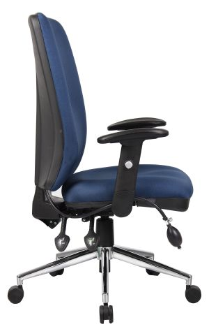 Chiro High Back Chair Blue Fabric Side View