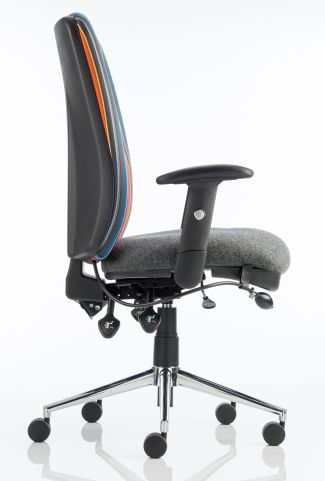 Chiro High Back Chair With A Striped Fabric Back Side View