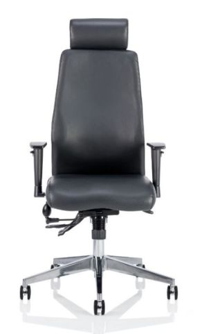 Jet Black Leather Ergonomic Task Chair