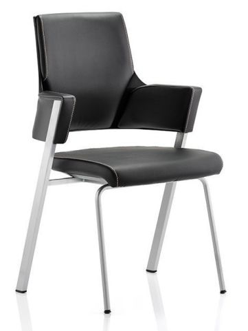 Holster Black Fabric Conference Chair Side Angle