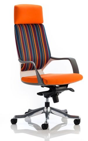 Atomic Chair Orange And Striped Fabric Front Angle