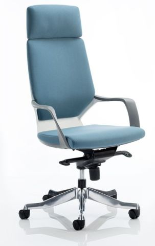 Atomic High Back Chair With Heardrest In Stock Blue