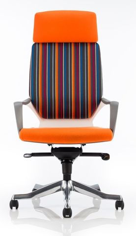 Atomic High Back Chair With Orange And Striped Fabrics