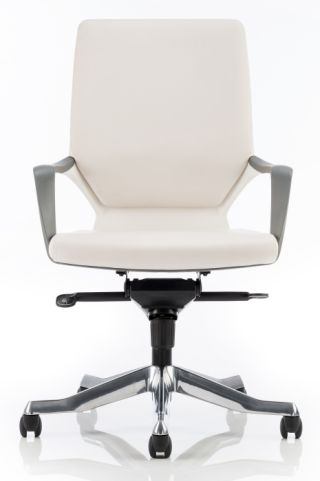 Atomivc White Leather Executive Chair Front View