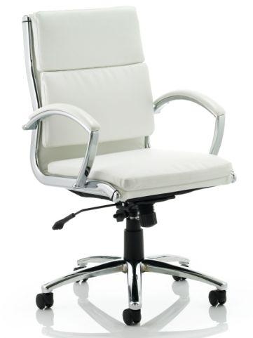 Classio Medium Back Swivel Chair White Leather