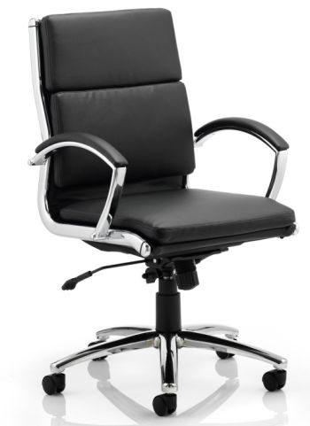 Classio Black Leather Mid Back Swivel Chair