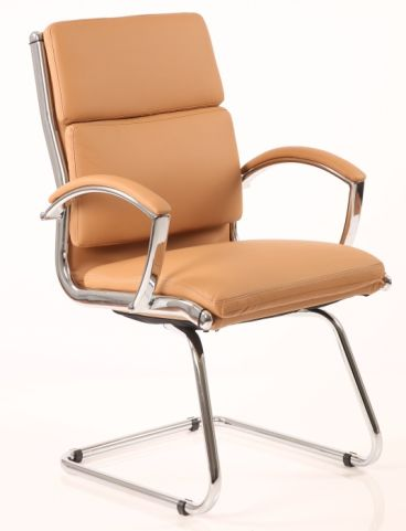 Classio Tan Leather Conference Or Visitors Chair