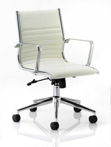 Hilton Medium Back White Leather Chair