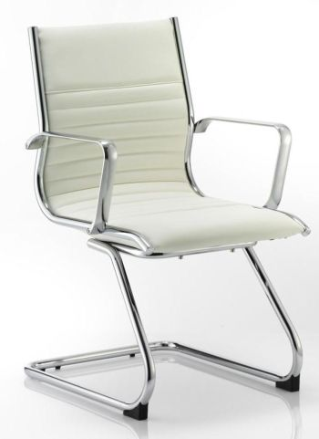 Hilton White Leather Conference Chair