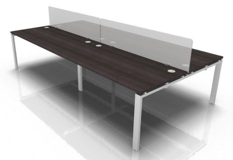 Mercury Four Person Bench Desk With Acrylic Desk Screens