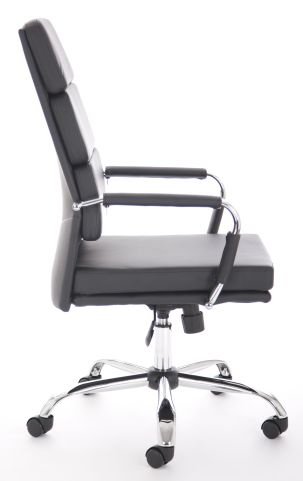 Majestic High Back Chair Black Leather Side View