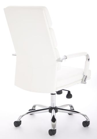 Majestic White Leather Executive Chair Rear Angle