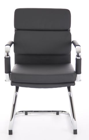 Majestic Black Leather Visitors Chairs Front Angle