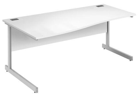 Draycott Left Hand Wave Desk In White
