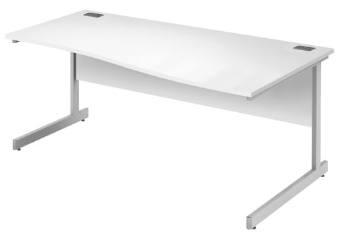 Draycott Right Hand Wave Desk In White