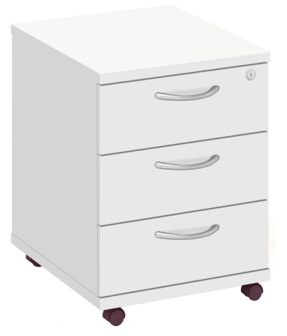 Draycott Three Drawer Mobile Pedestal In White