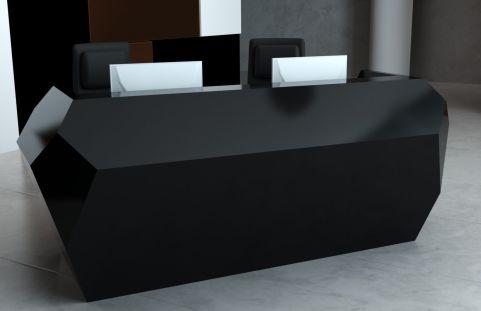 Invite Corian Two Person Reception Desk Deep Nocturne Finish