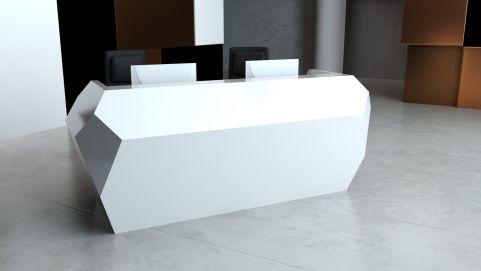 Invite Two Person Reception Desk Glacier White Finish