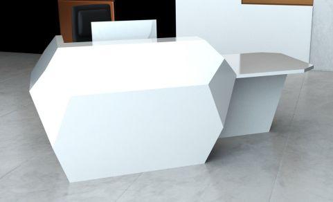 Invite Reception Jdesk With A Left Hand Desk Area In Glacier White