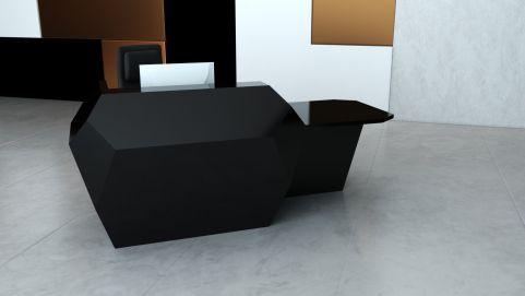 Invite Corian Reception Desk With A Left Hand Desk Area Deep Nocturne Finish