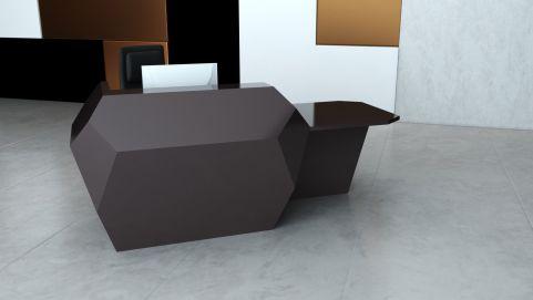 Invite Corian Reception Desk With A Left Hand Desk Area Deep Cloud Finish