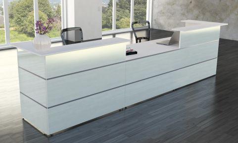 Capri Glass Reception Desk With Central Desk Height Area