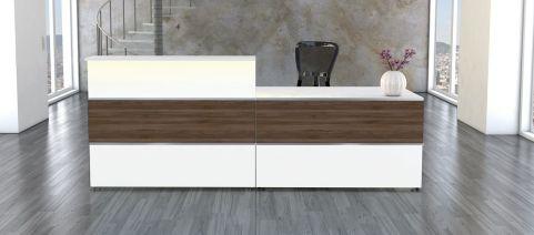 Capri Walnt & White Reception Desk