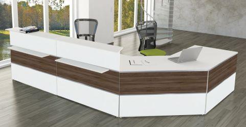 Capri White & Walnut Reception Desk No 4