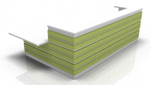 Majesto Reception Desk 4 Lime Green Cladding