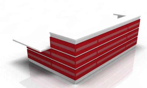 Majesto Reception Desk 4 With Red Cladding