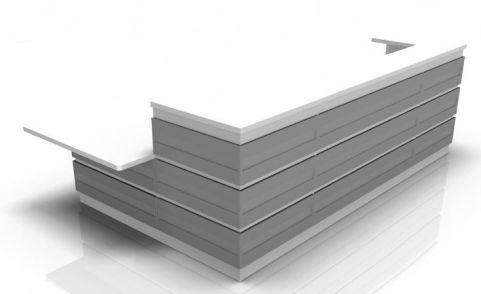 Majesto Reception Desk 4 With Silver Grey Cladding