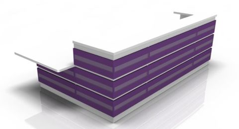 Majesto Reception Desk 4 With Purple Fronts