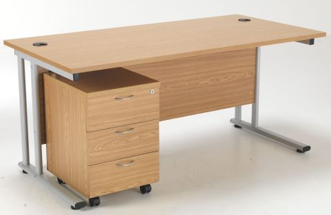 Flite Rectangular Desk And Three Drawer Mobile Pedestal In Oak