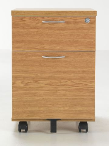Flite Two Drawer Mobiel Pedestal Oak Finish Front Shot