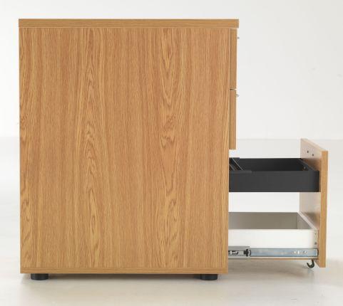 Flite Desk Height Pedestal In Oak Side Vew With Open Drawer