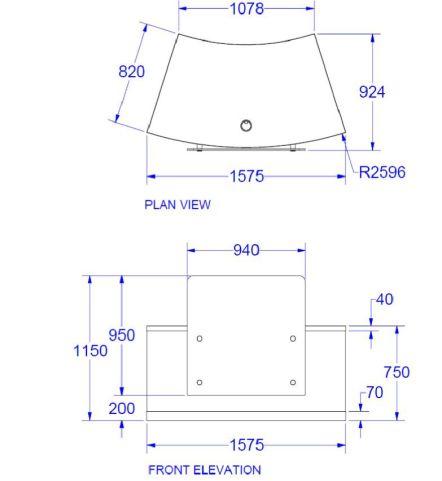 Evo Z Curved Compact Reception Desk Dimenions