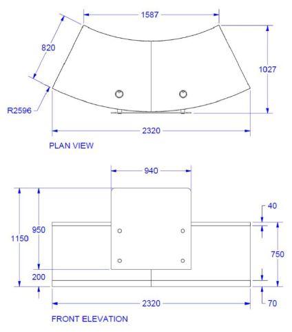 Evoz Curved Reception Desk Standard Dims