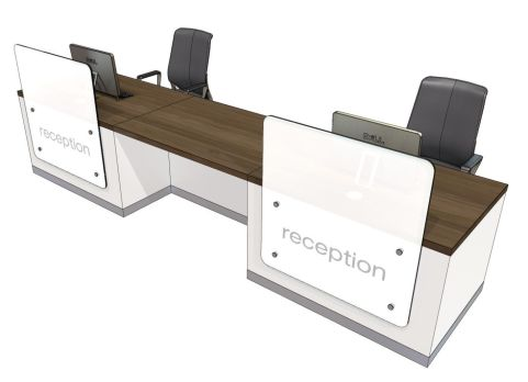 Zed Two Person Straight Recption Desk With Central Wheelchair Area