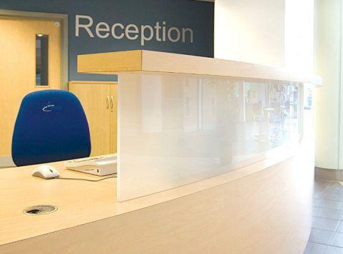 Evo Class Reception Desk Upstand Detail
