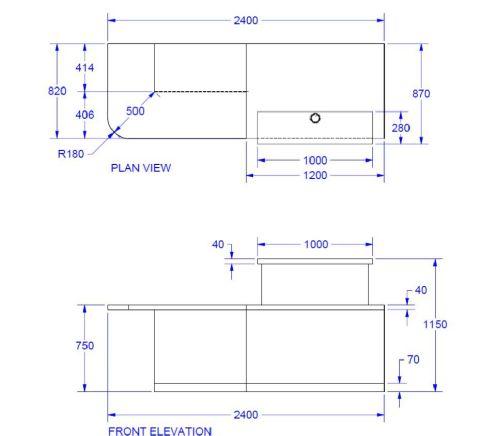 Evo Class Right Hand Stright Reception Desk Dimensions