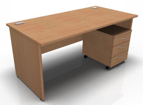 Kessel Rectangular Desk Panel Sides Mobile Pedestal In Beech
