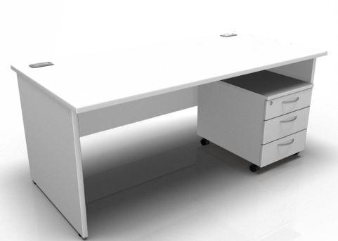Kessel Rectangular Desk Panel Sides Mobile Pedestal In White